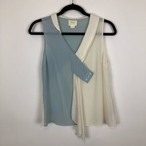 Anthropologie Maeve silk top ivory blue shell 4